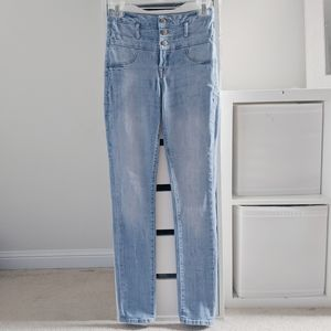 REFUGE | LIGHT WASH HIGH WAISTED SKINNY JEANS